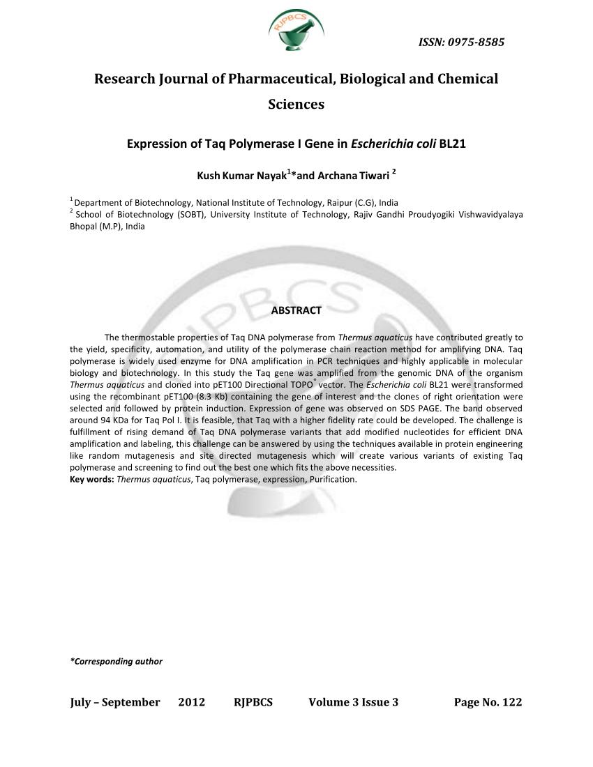 (PDF) Expression of Taq polymerase I gene in Escherichia