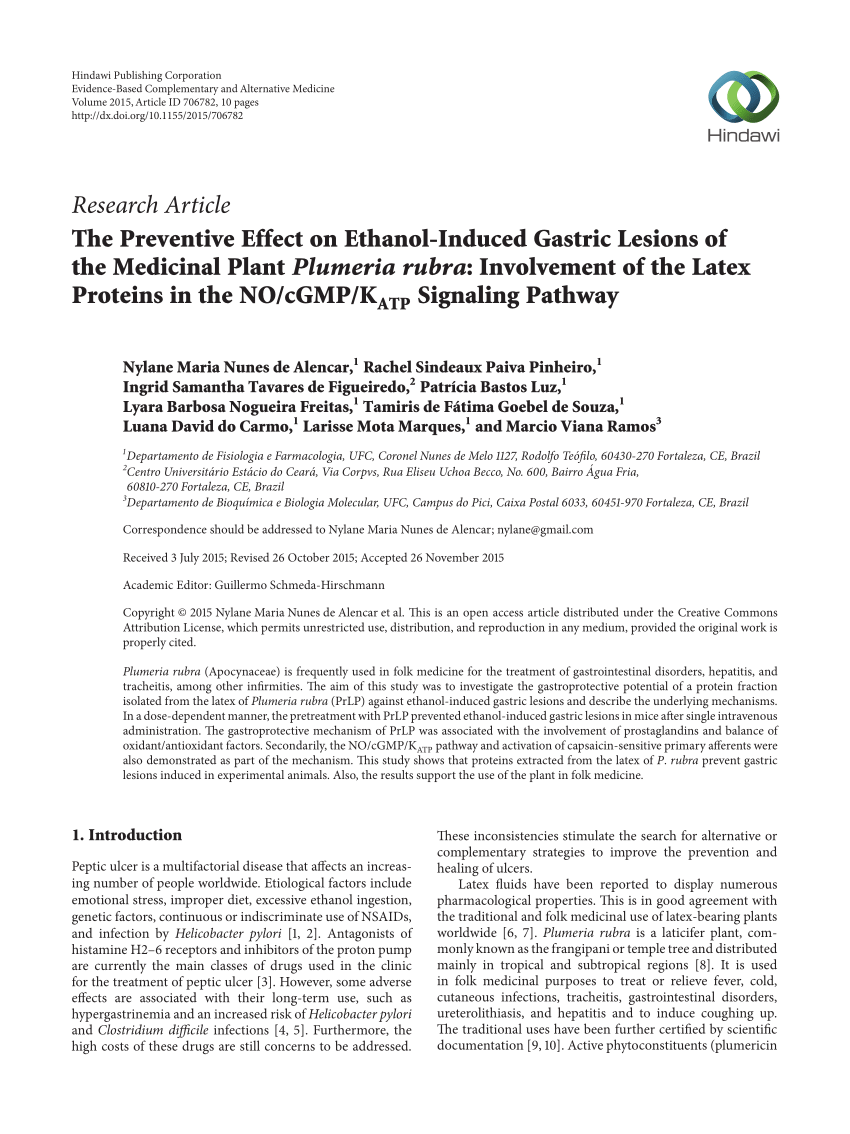 pdf the preventive effect on ethanol induced gastric lesions of the medicinal plant plumeria rubra involvement of the latex proteins in the no cgmp k