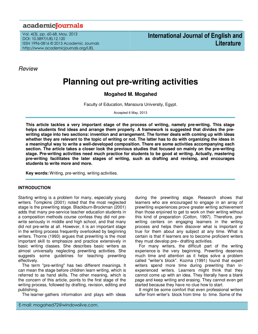 medium resolution of PDF) Planning out pre-writing activities