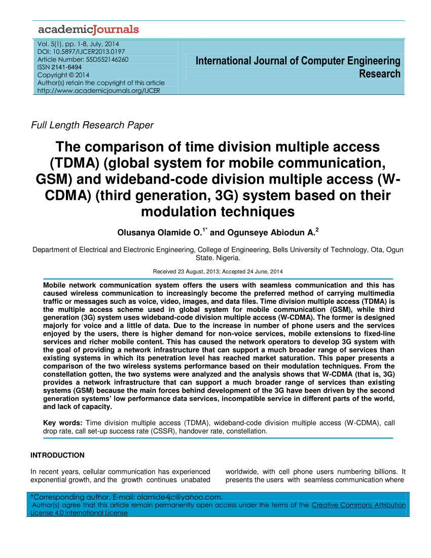 hight resolution of  for mobile communication gsm and wideband code division multiple access w cdma third generation 3g system based on their modulation techniques