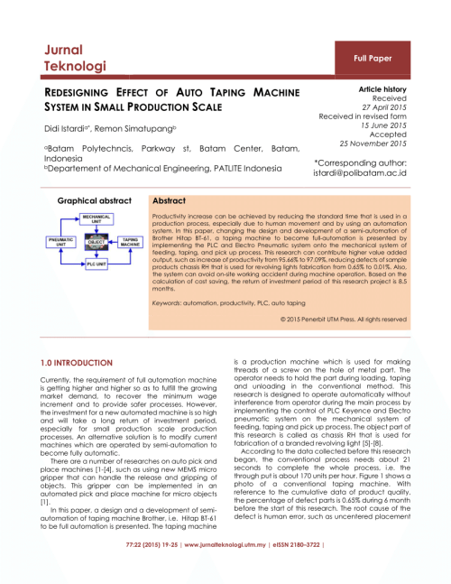 small resolution of  pdf redesigning effect of auto taping machine system in small production scale