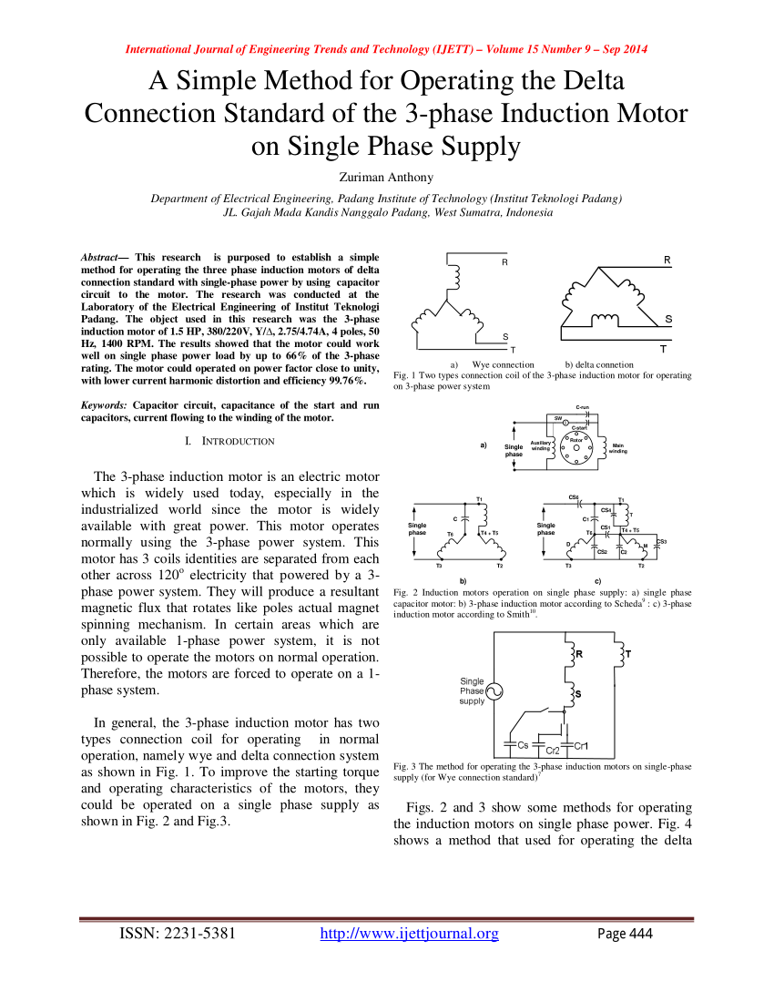 medium resolution of  pdf a simple method for operating the delta connection standard of the 3 phase induction motor on single phase supply
