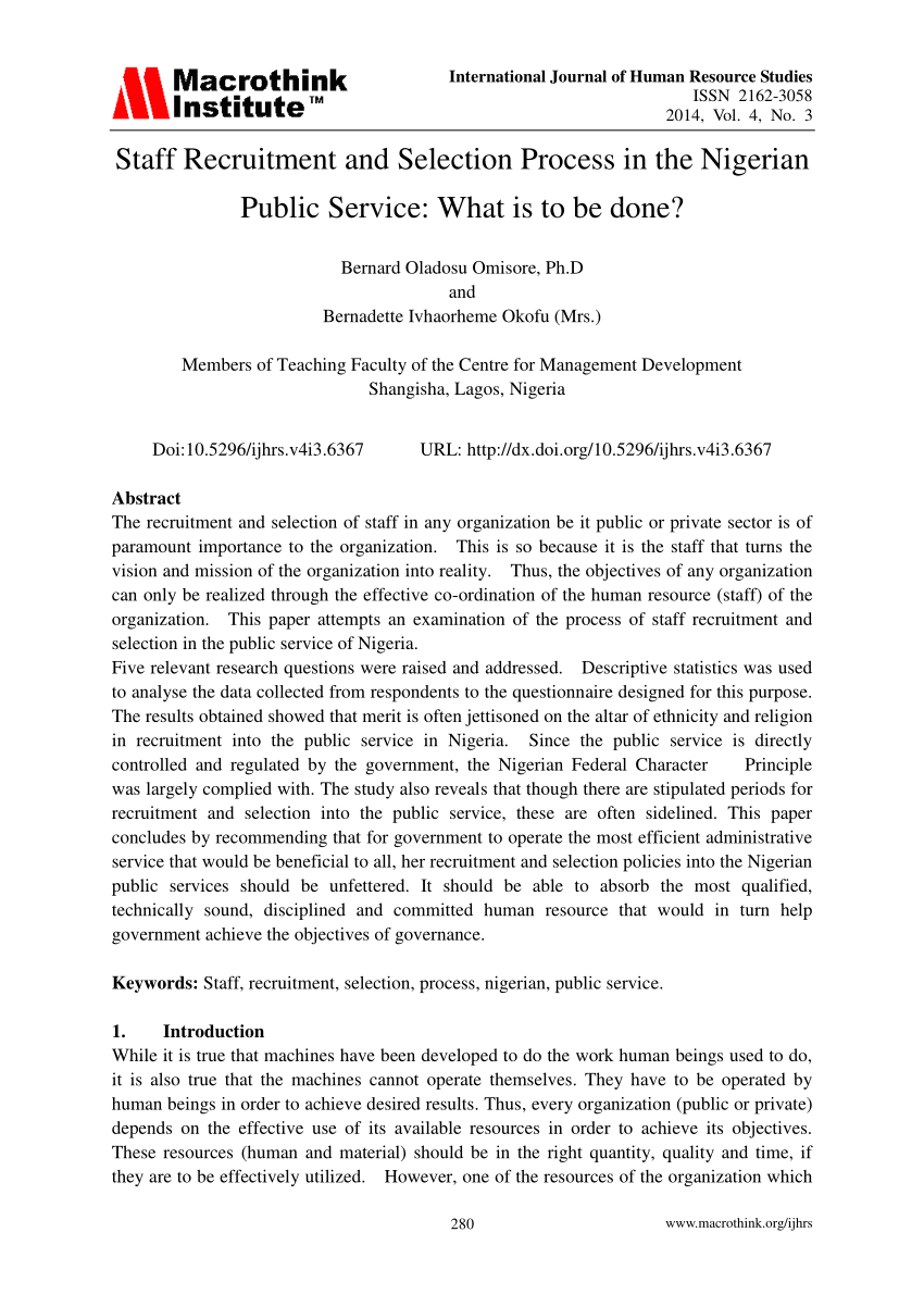 medium resolution of  pdf staff recruitment and selection process in the nigerian public service what is