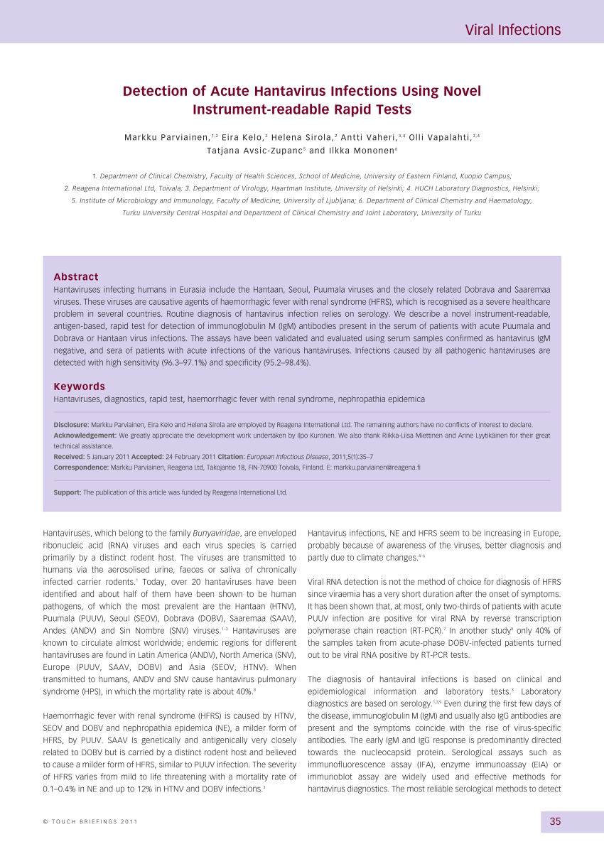 PDF) Detection of acute hantavirus infections using novel ...