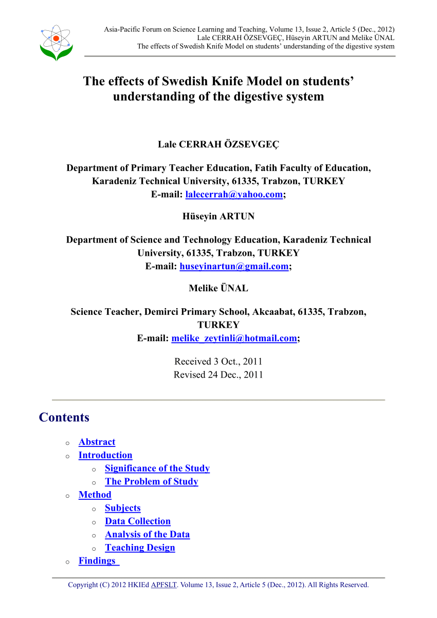 medium resolution of PDF) The effects of swedish knife model on students' understanding of the  digestive system