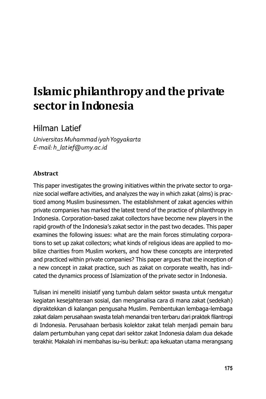Universitas Swasta Di Yogyakarta : universitas, swasta, yogyakarta, Islamic, Philanthropy, Private, Sector, Indonesia