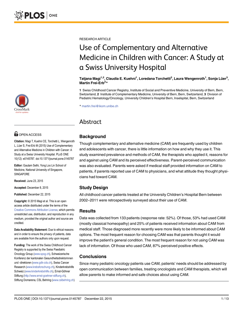 Prevalence And Parental Perceptions Of Complementary And Alternative  Medicine Use By Children With Cancer In A Multi-Ethnic Southeast Asian  Population