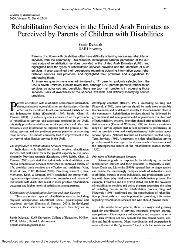 PDF Rehabilitation services in the United Arab Emirates as perceived by parents of children