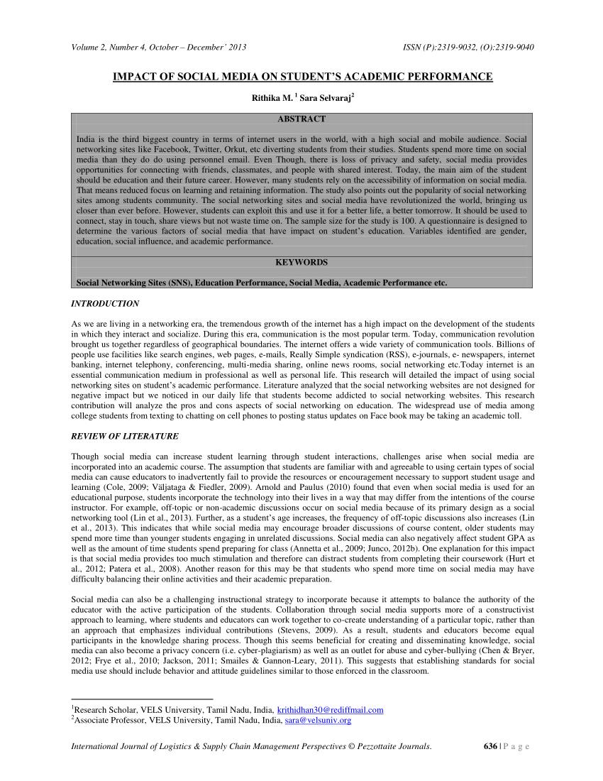 PDF IMPACT OF SOCIAL MEDIA ON STUDENT'S ACADEMIC PERFORMANCE
