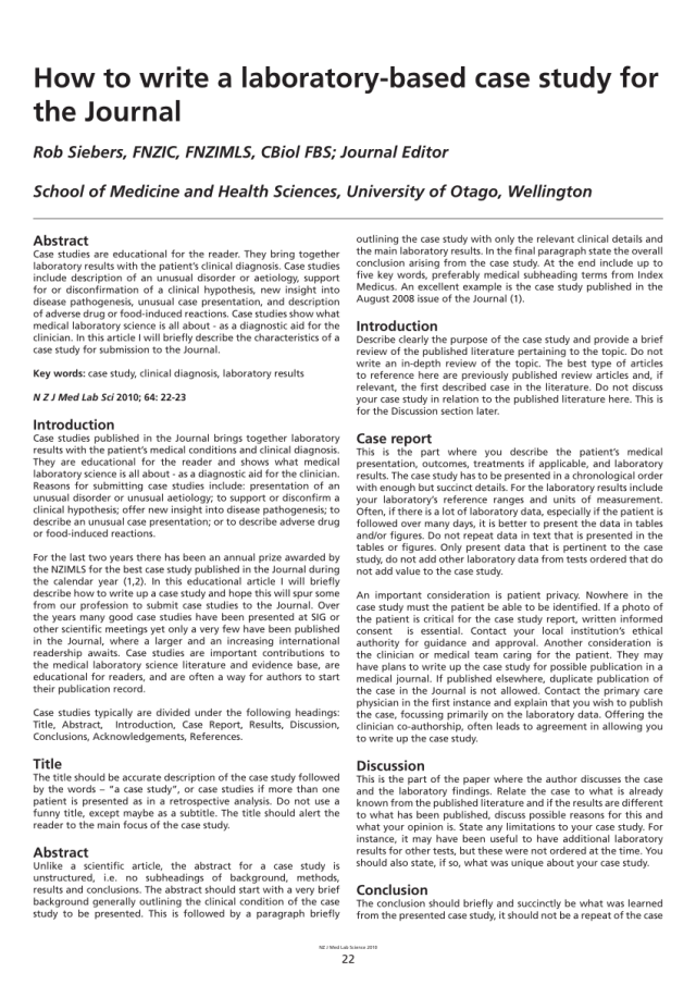 PDF) How to write a laboratory-based case study for the Journal