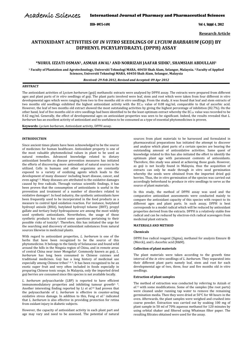 (PDF) Antioxidant activities of in vitro seedlings of Lycium barbarum (goji) by diphenyl picrylhydrazyl (DPPH) assay