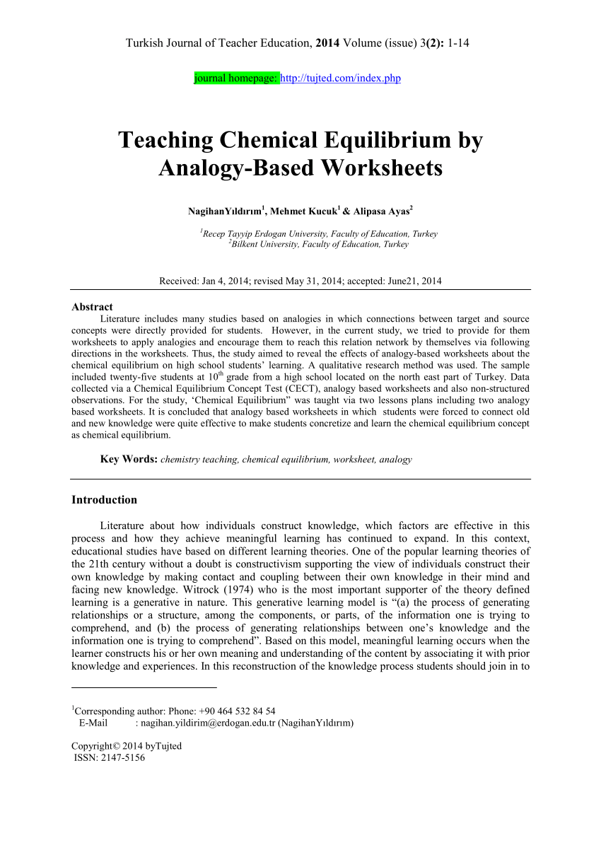 hight resolution of PDF) Teaching Chemical Equilibrium by Analogy-Based Worksheets
