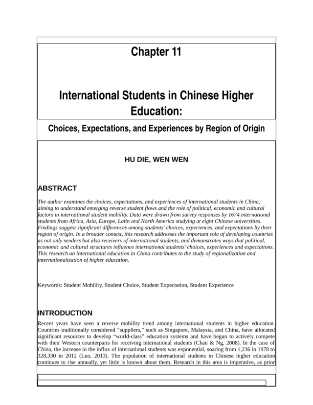 PDF) International Students in Chinese Higher Education: Choices