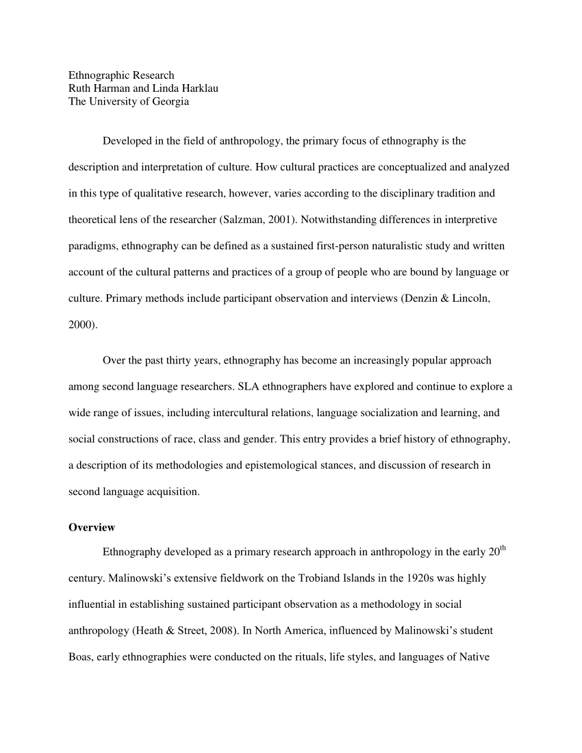 PDF Ethnographic Research