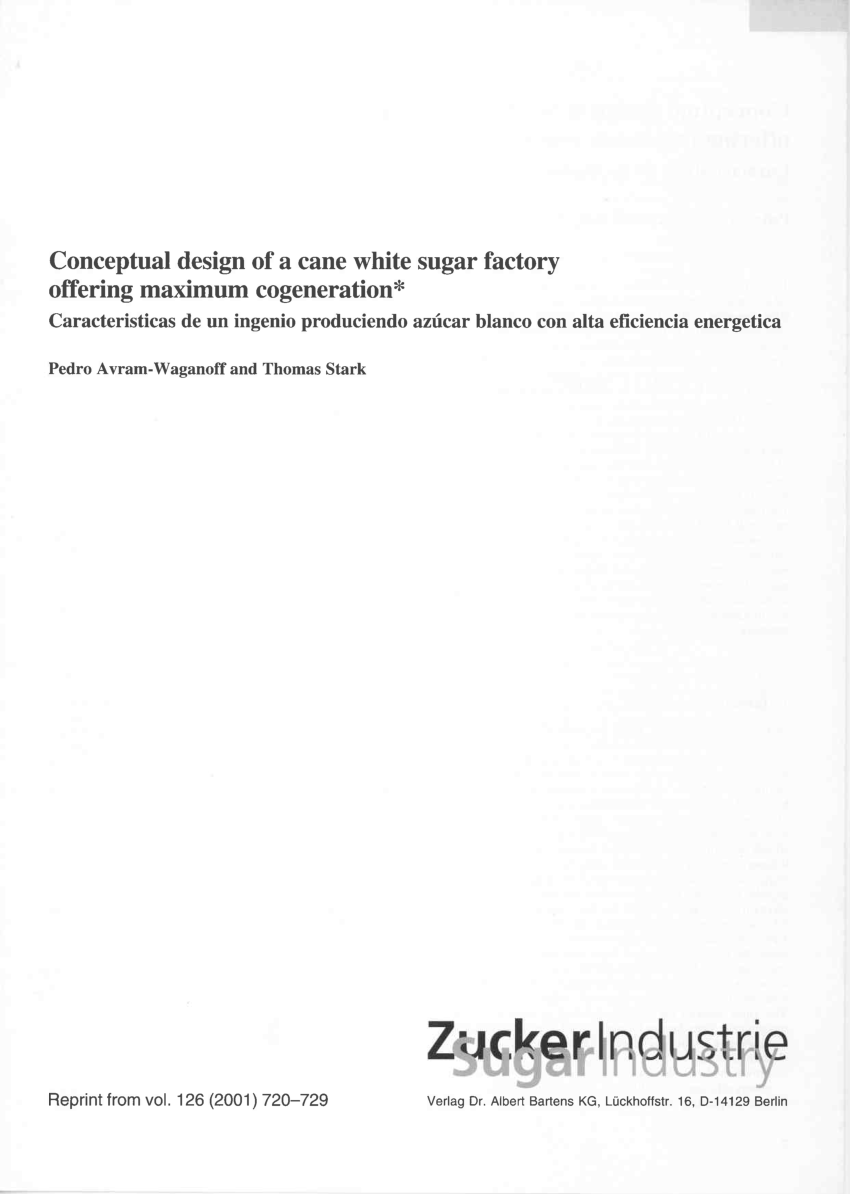 conceptual design of a cane white sugar