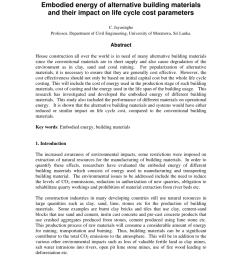 pdf embodied energy of alternative building materials and their impact on life cycle cost parameters [ 850 x 1100 Pixel ]