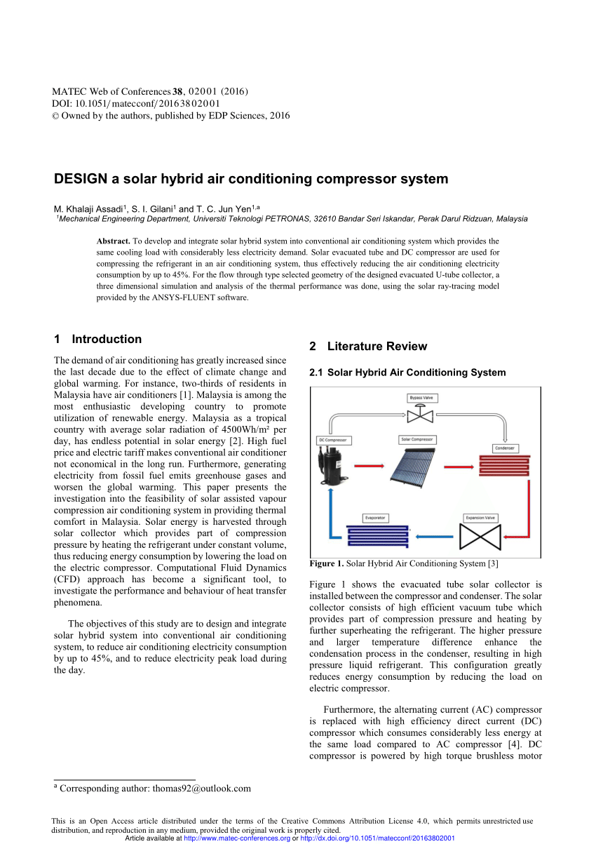 medium resolution of  pdf design a solar hybrid air conditioning compressor system