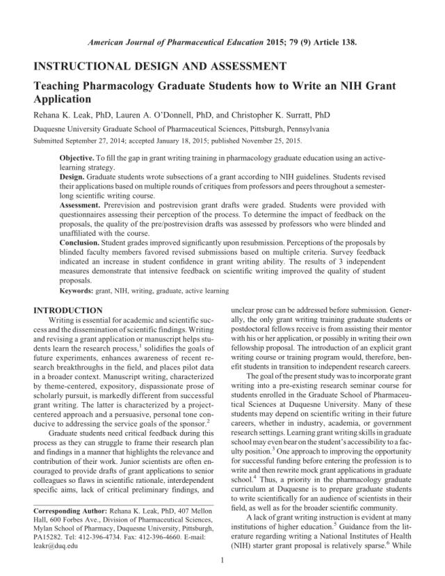 PDF) Teaching Pharmacology Graduate Students how to Write an NIH