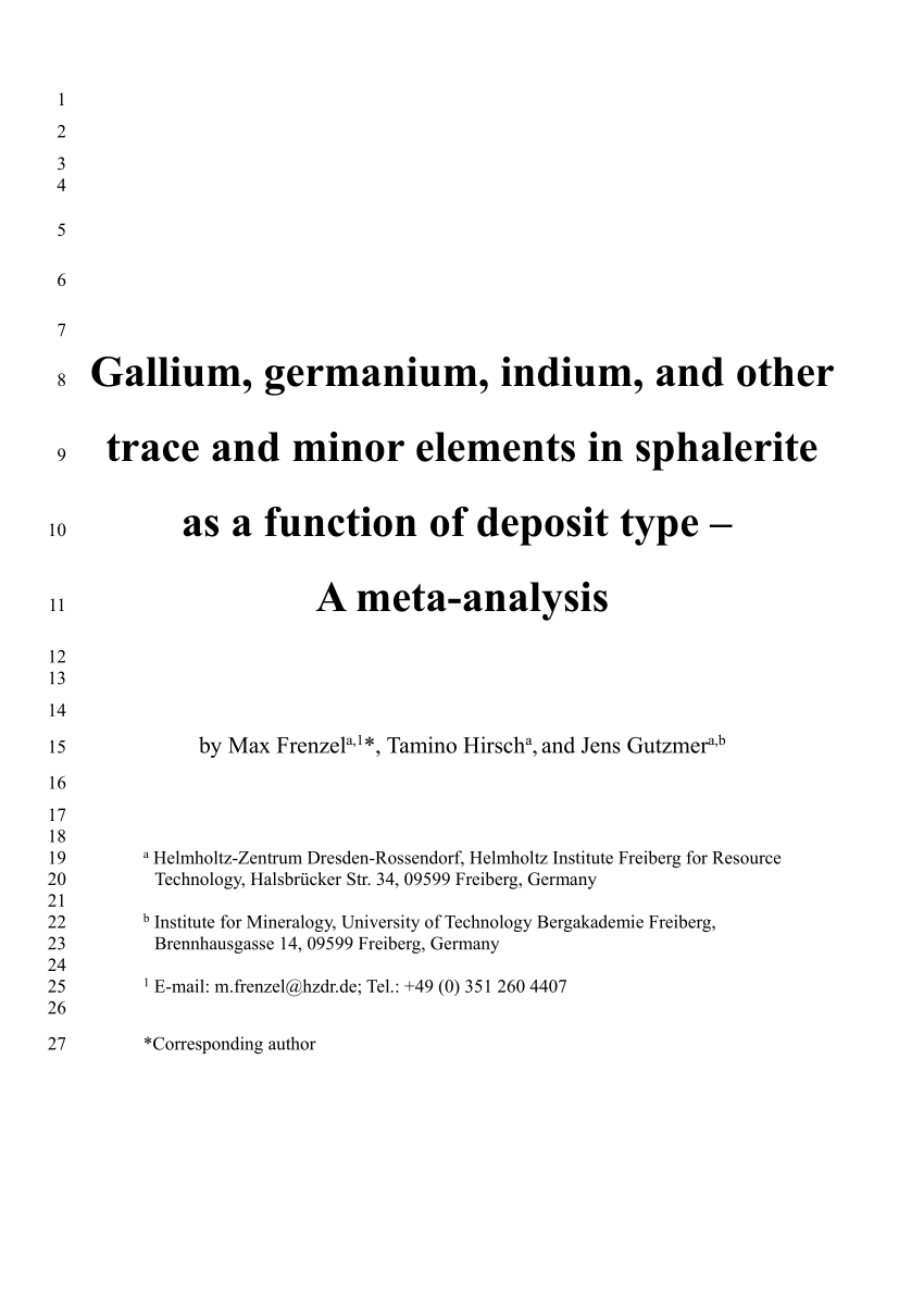 hight resolution of  pdf gallium germanium indium and other minor and trace elements in sphalerite as a function of deposit type a meta analysis
