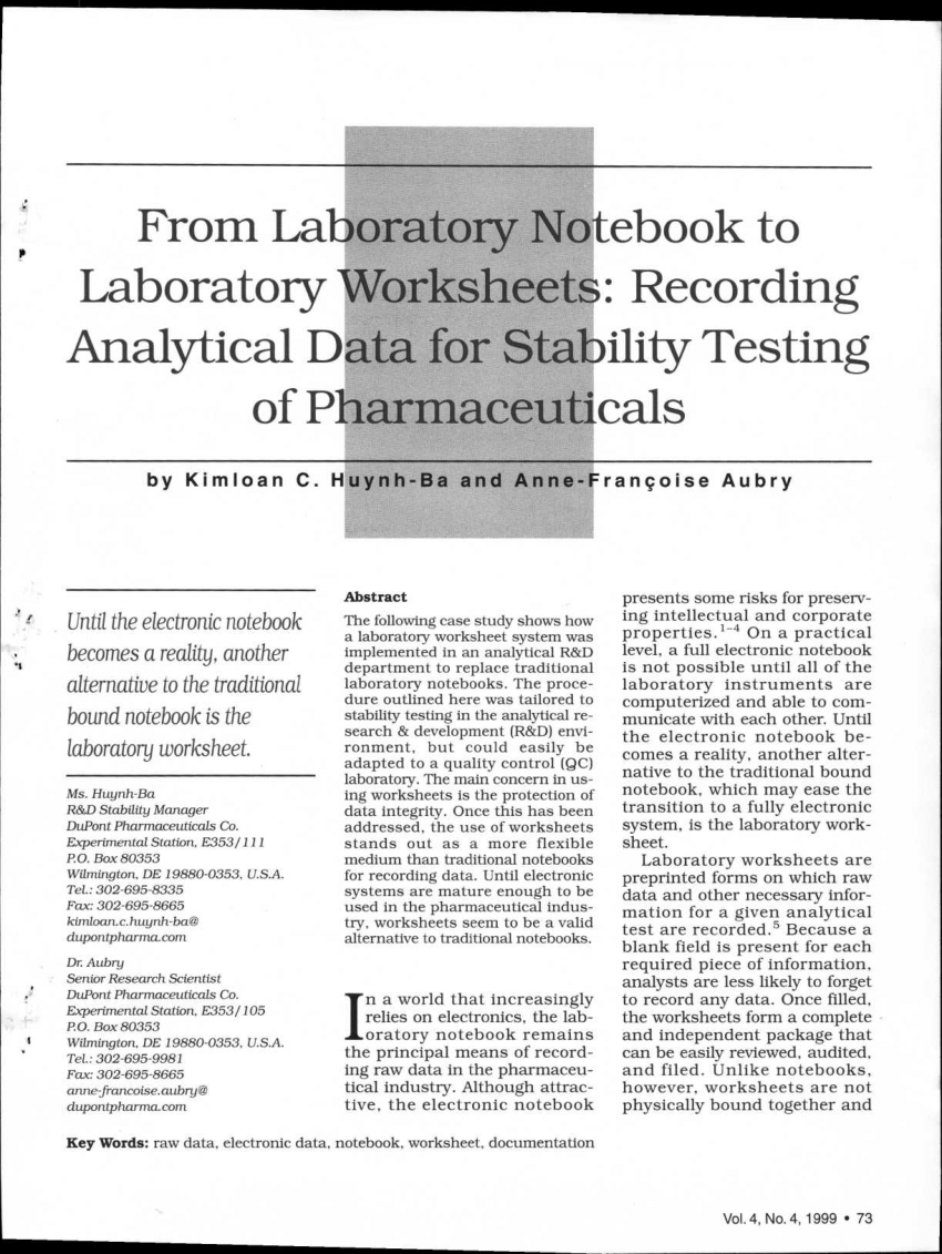 (PDF) From laboratory notebook to laboratory worksheets