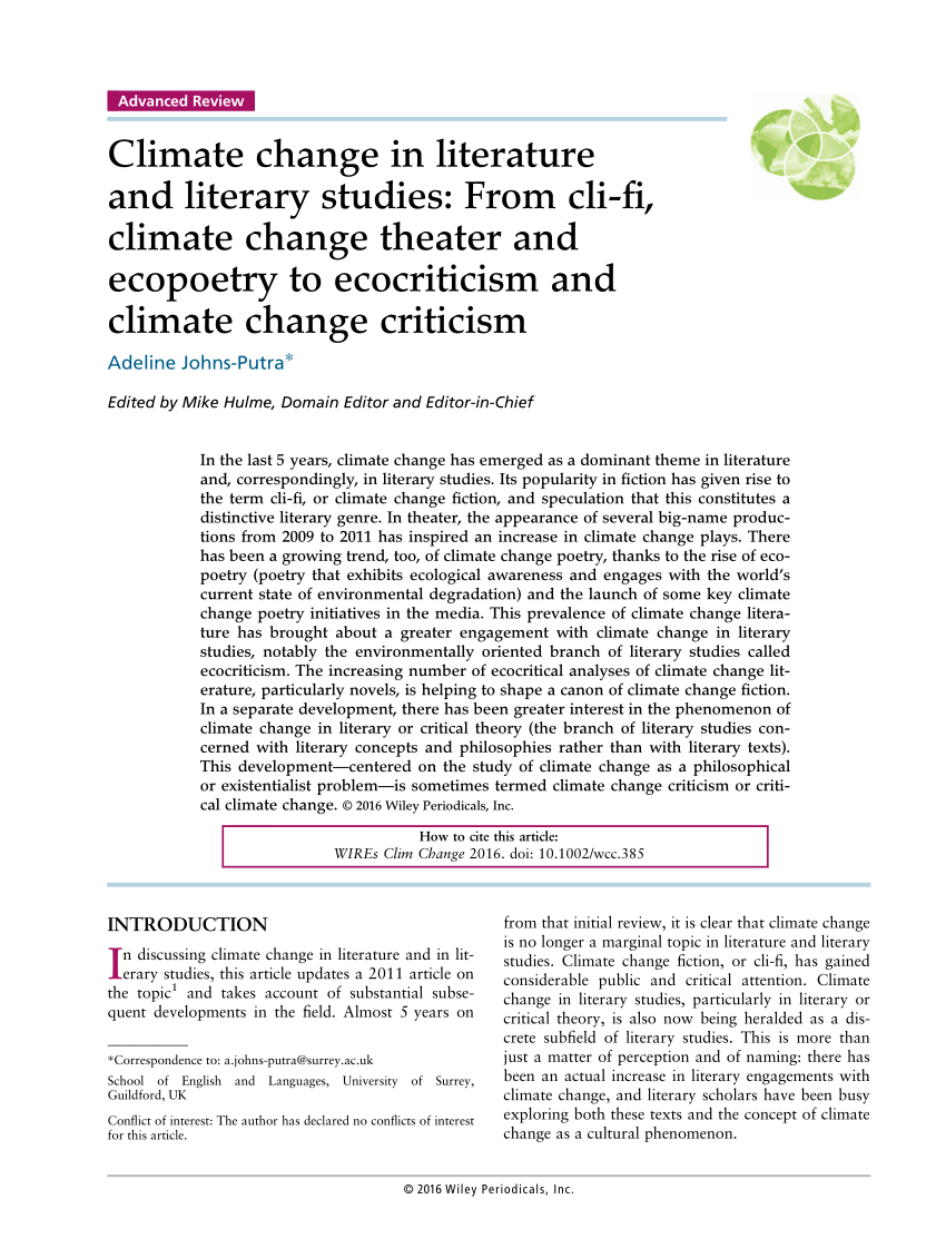 medium resolution of  pdf climate change in literature and literary studies from cli fi climate change theater and ecopoetry to ecocriticism and climate change criticism