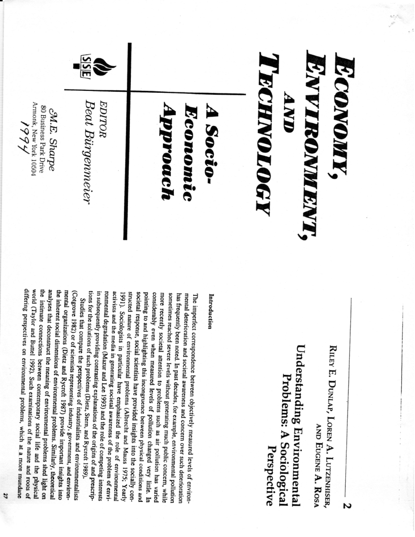 (PDF) Understanding Environmental Problems: A Sociological