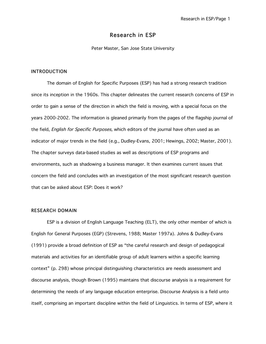 PDF Research In English For Specific Purposes
