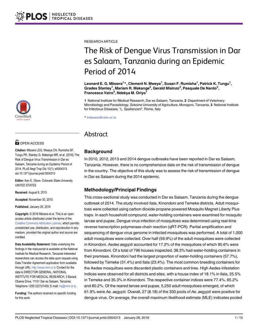 PDF) The Risk of Dengue Virus Transmission in Dar es Salaam ...