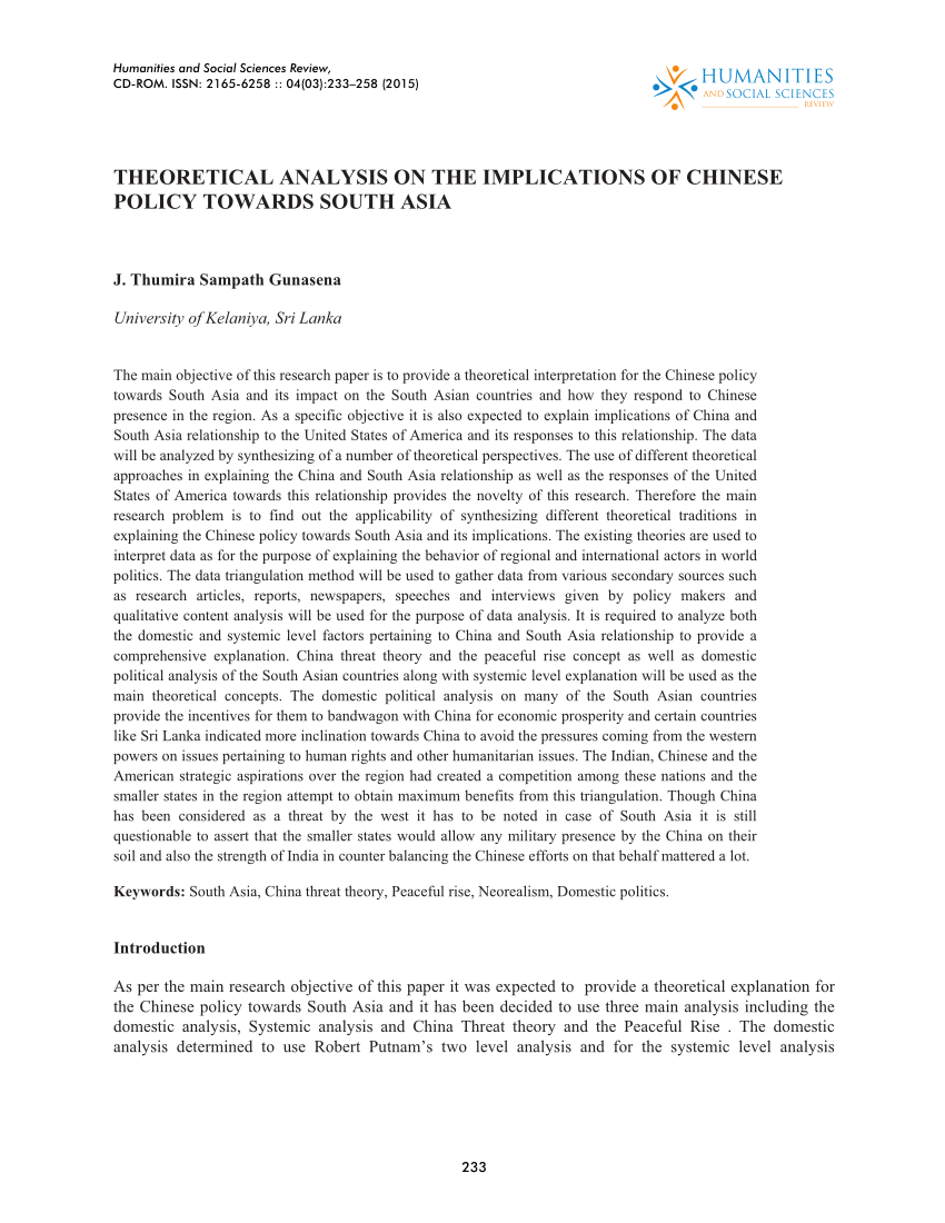 PDF THEORETICAL ANALYSIS ON THE IMPLICATIONS OF CHINESE POLICY