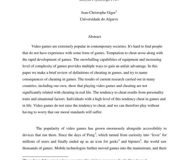 Pdf Cheating In Video Games Causes And Some Consequences