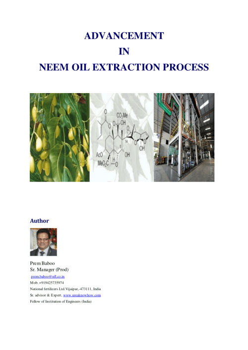 small resolution of  pdf advancement in neem oil extraction process