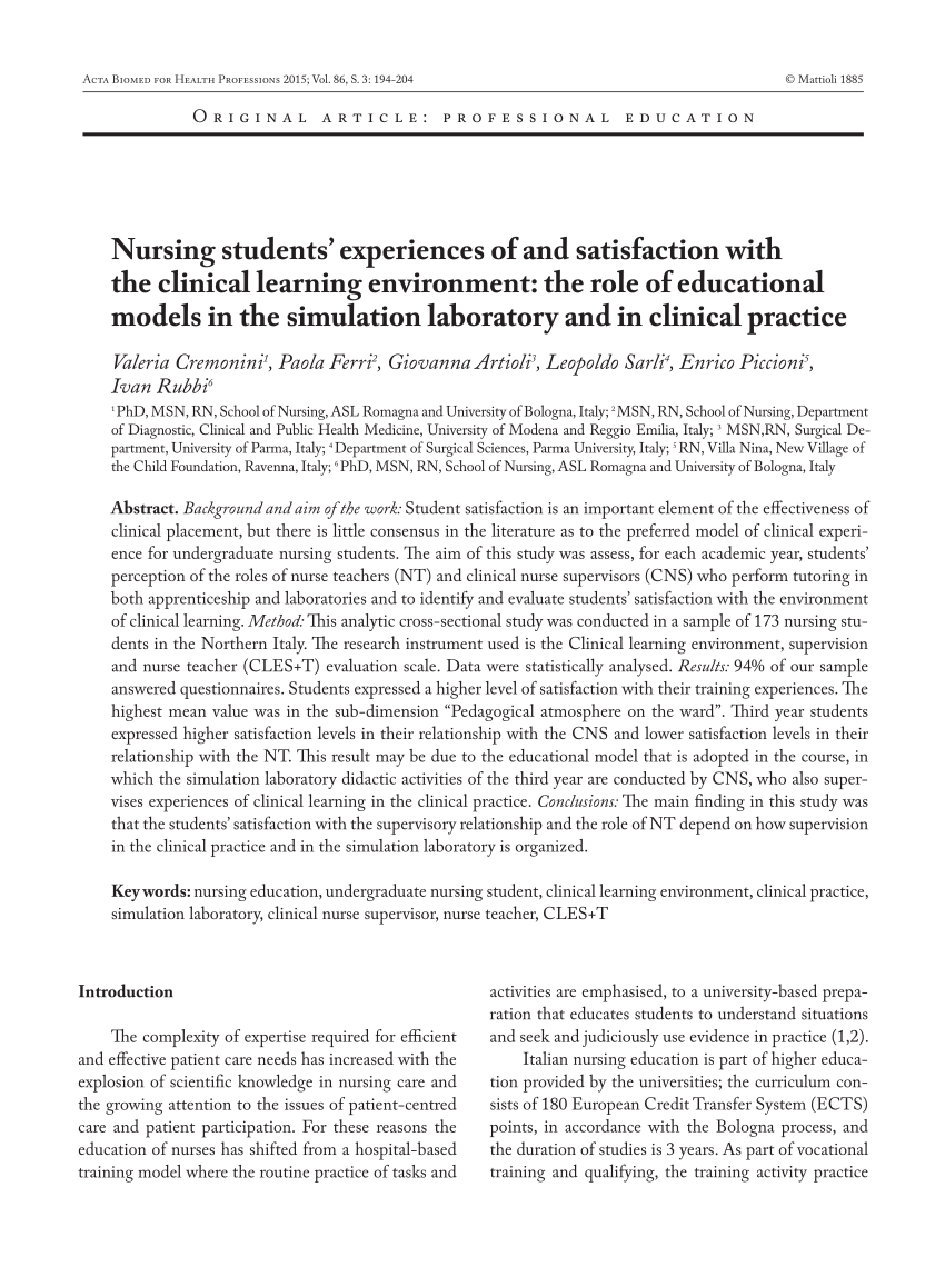 Pdf Nursing Students Experiences Of And Satisfaction