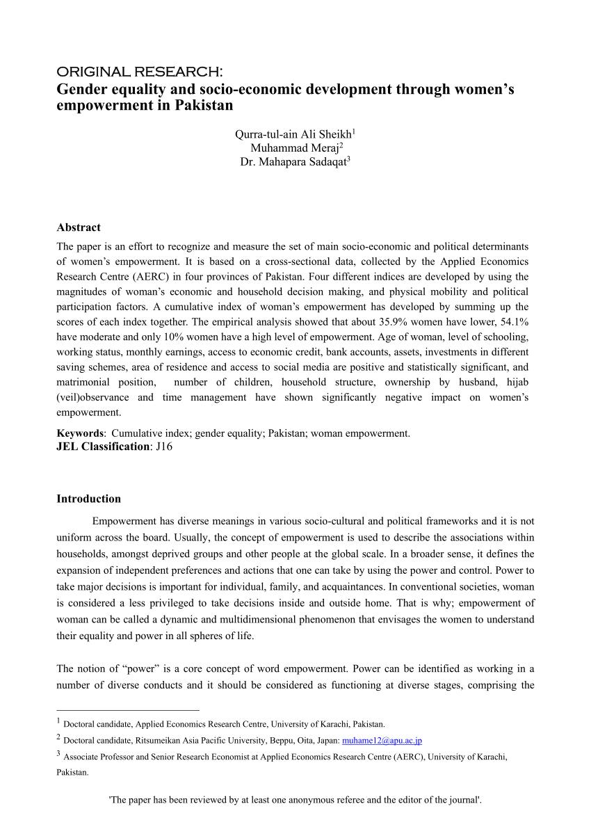 PDF Gender Equality And Socio Economic Development