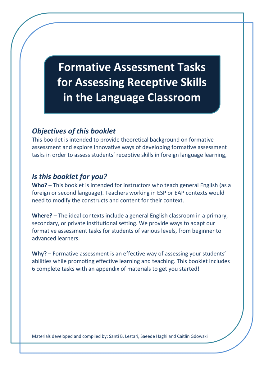 (Pdf) Formative Assessment Booklet