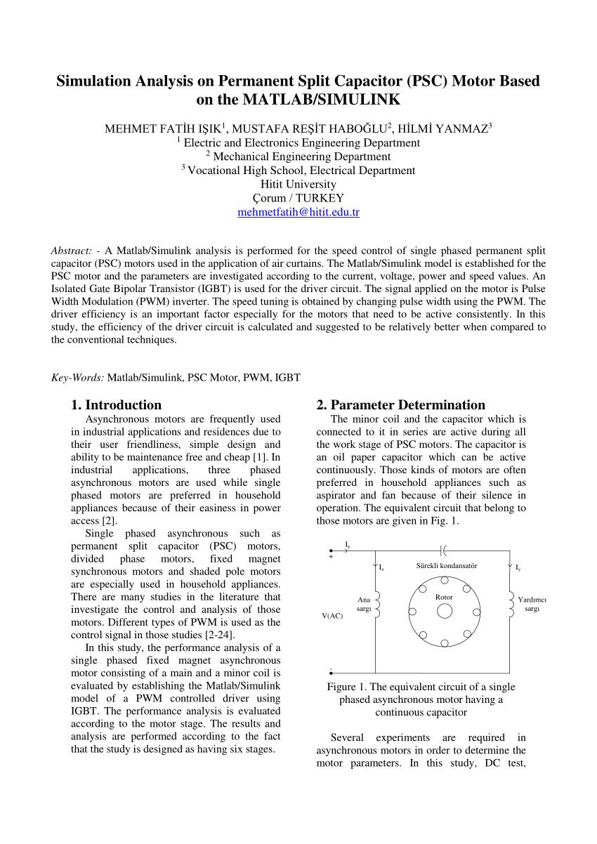 hight resolution of  pdf simulation analysis on permanent split capacitor psc motor based on the matlab simulink