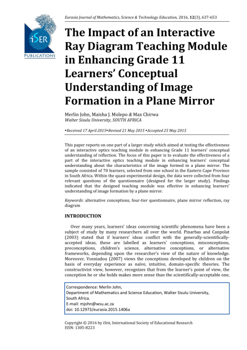 small resolution of  pdf the impact of an interactive ray diagram teaching module in enhancing grade 11 learners conceptual understanding of image formation in a plane mirror