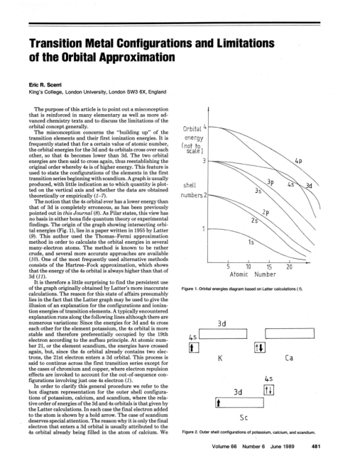 small resolution of  pdf transition metal configurations and limitations of the orbital approximation