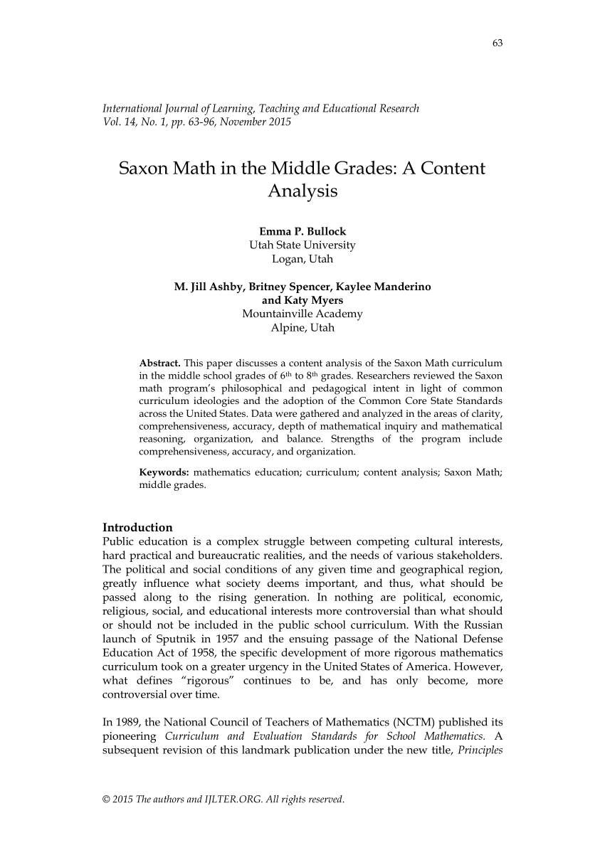 medium resolution of PDF) Saxon Math in the Middle Grades: A Content Analysis