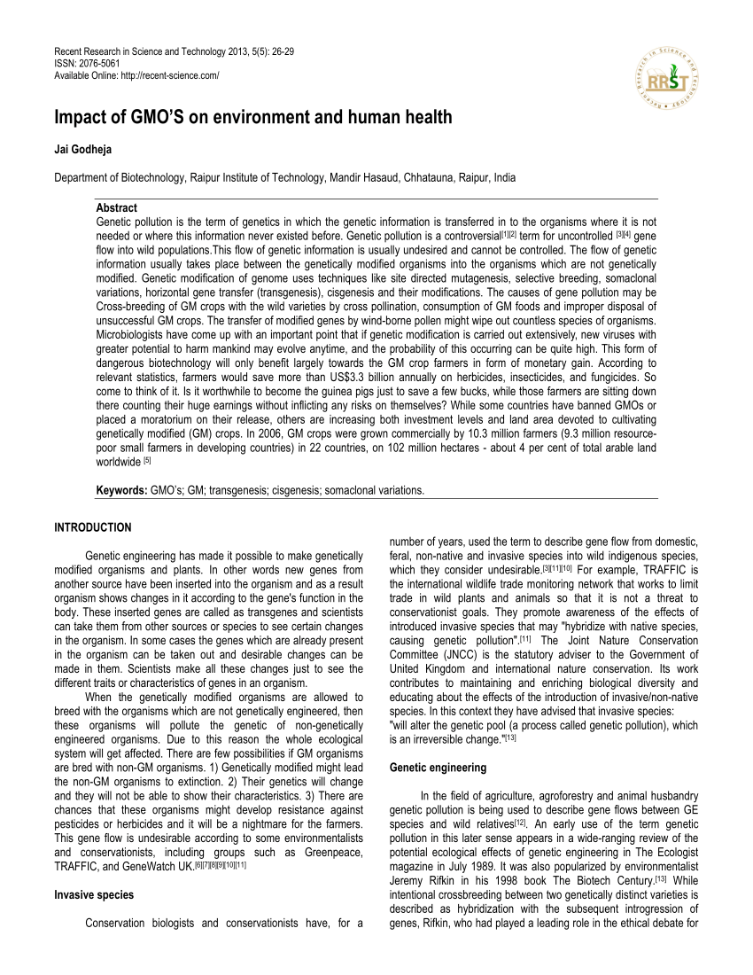 PDF Impact Of GMO'S On Environment And Human Health