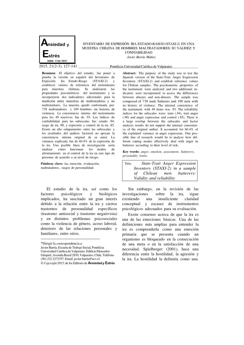 (PDF) Inventario de Expresión Ira Estado-Rasgo (STAXI-2