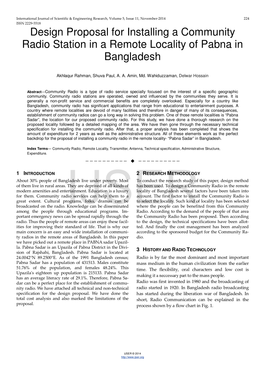 (Pdf) Design Proposal For Installing A Community Radio Station In A Remote  Locality Of Pabna In Bangladesh