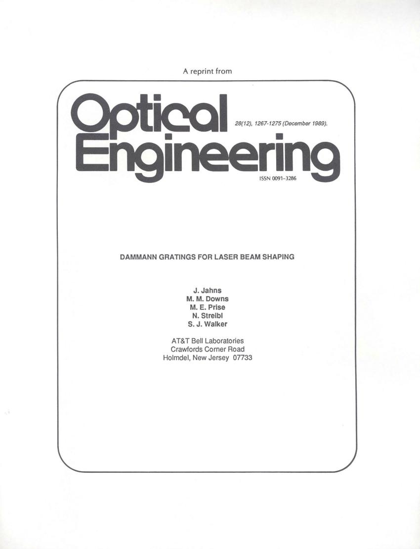 (PDF) Dammann gratings for laser beam shaping
