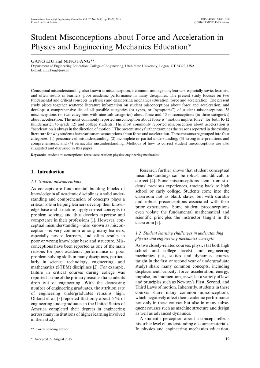 hight resolution of PDF) Student Misconceptions about Force and Acceleration in Physics and  Engineering Mechanics Education