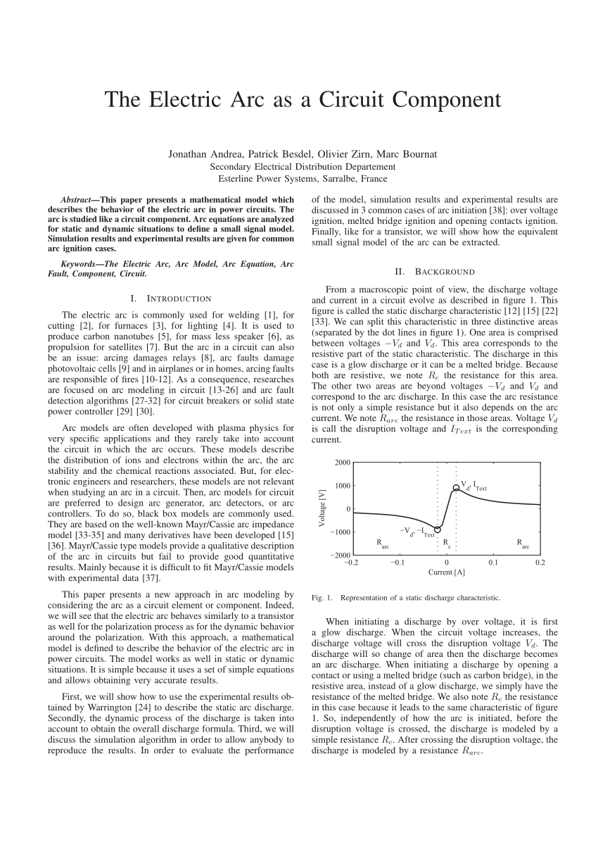 hight resolution of  pdf model of an electric arc for circuit analysis