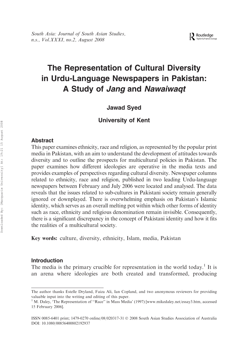 PDF The Representation Of Cultural Diversity In Urdu Language