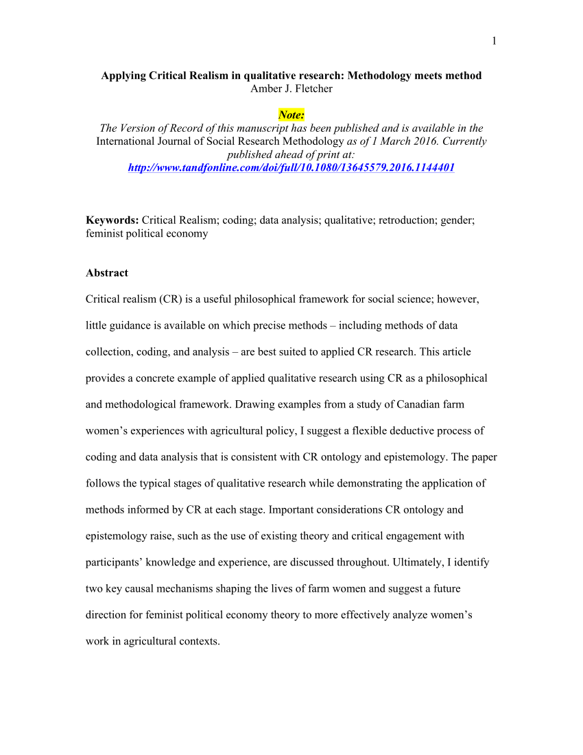 PDF Applying Critical Realism In Qualitative Research Methodology