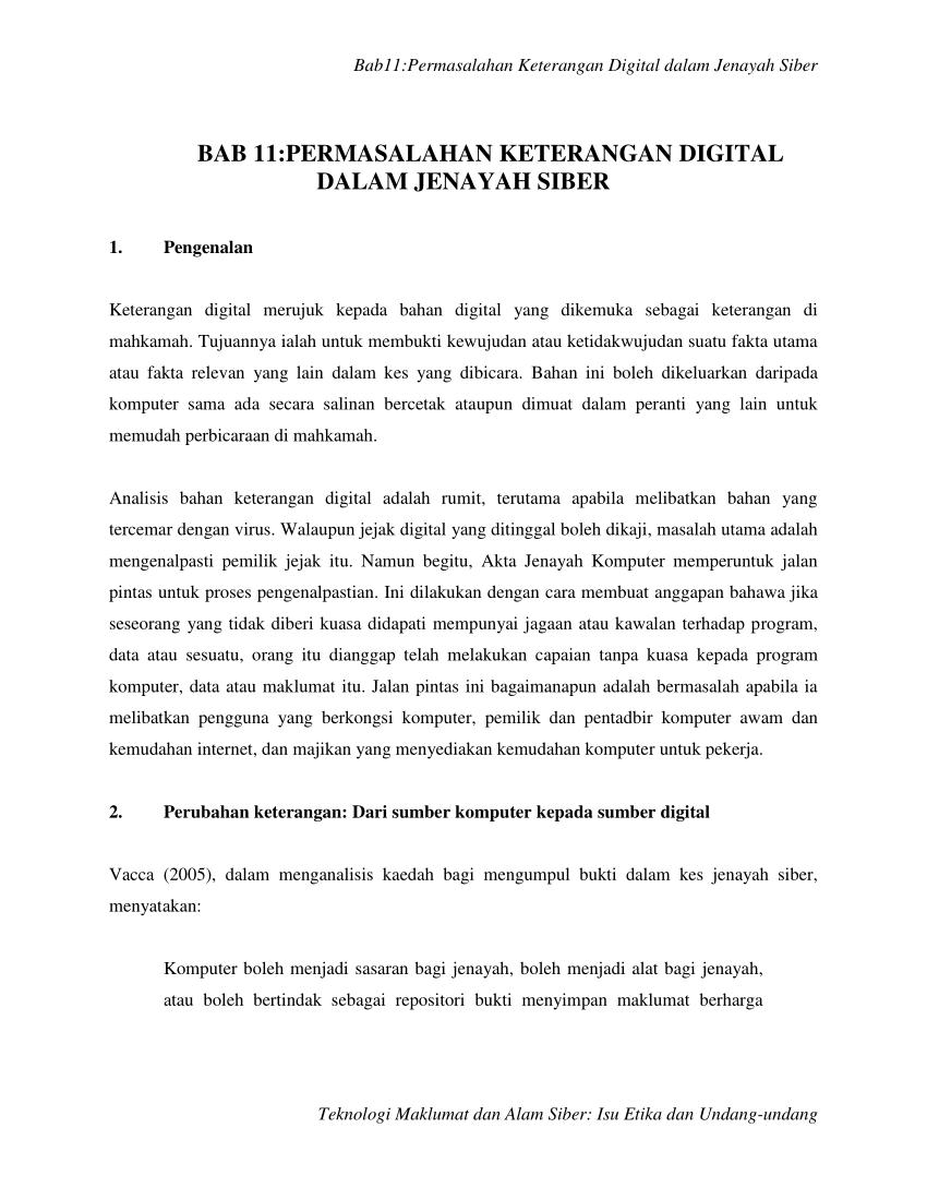 PDF) Teknologi Maklumat dan Alam Siber: Isu Etika dan Undang ...