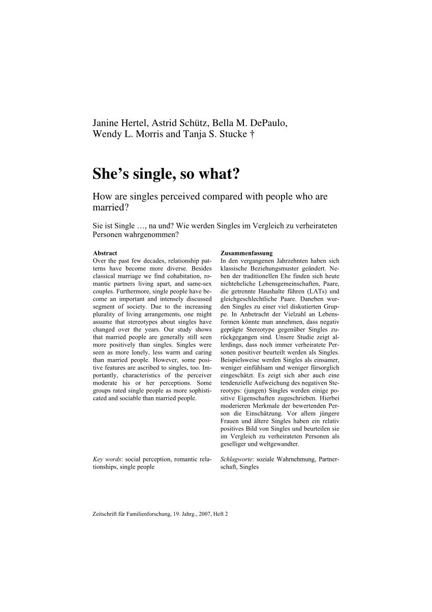 (PDF) She's single, so what? How are singles perceived