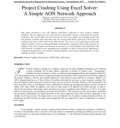 pdf project crashing using excel solver a simple aon network approach [ 850 x 1100 Pixel ]
