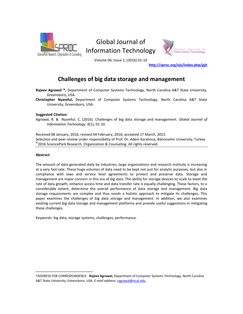 PDF Challenges Of Big Data Storage And Management